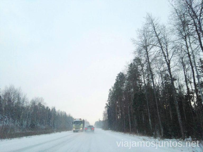 Carretera en invierno. Estonia. Noreste de Estonia. Población ruso-parlante.