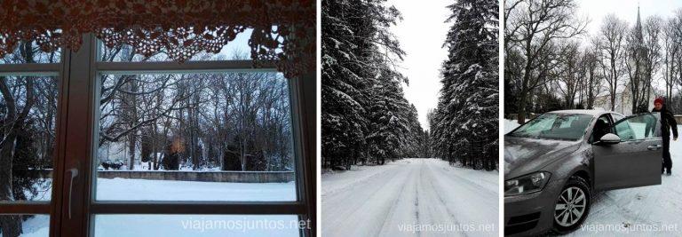 Nuestro alojamiento en el norte de Estonia: parking, vistas desde la habitación, carretera de acceso. Qué ver y hacer en el norte de Estonia. Países Bálticos.