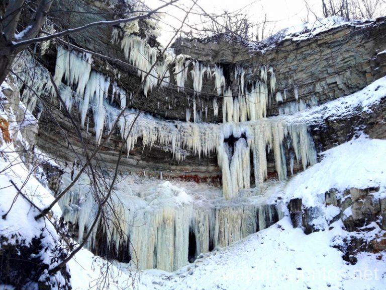 Cascada Valaste congelada. Parque de Oru. Qué ver y hacer en el norte de Estonia. Países Bálticos.