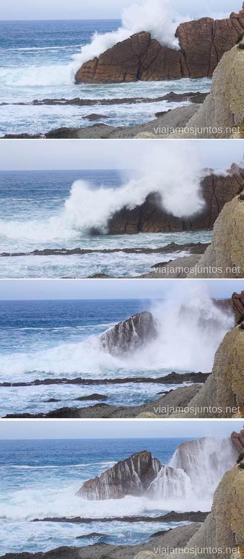 La fuerza bruta descargada sobre los Urros de Liencres. Qué ver y hacer en Costa Quebrada Cantabria Spain