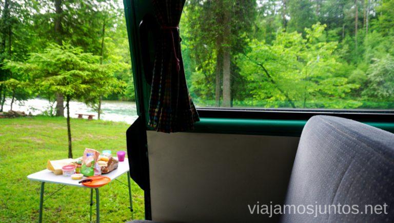 Zona de autocaravanas con mucho encanto en Eslovenia, cerca del lago Bled. Dónde dormir en Eslovenia. Lago Bled #EsloveniaJuntos