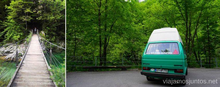 Divje Jezero: parking y puente colgante. Qué ver y hacer en Idrija Eslovenia #EsloveniaJuntos