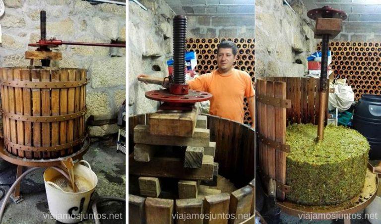 Haciendo vino casero en Galicia.
