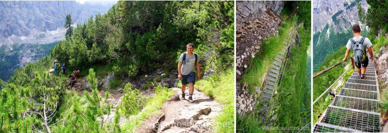 Pasarelas, sendas estrechas y escaleras metálicas. Italia #ItaliaJuntos Los Dolomitas Italy ruta de senderismo