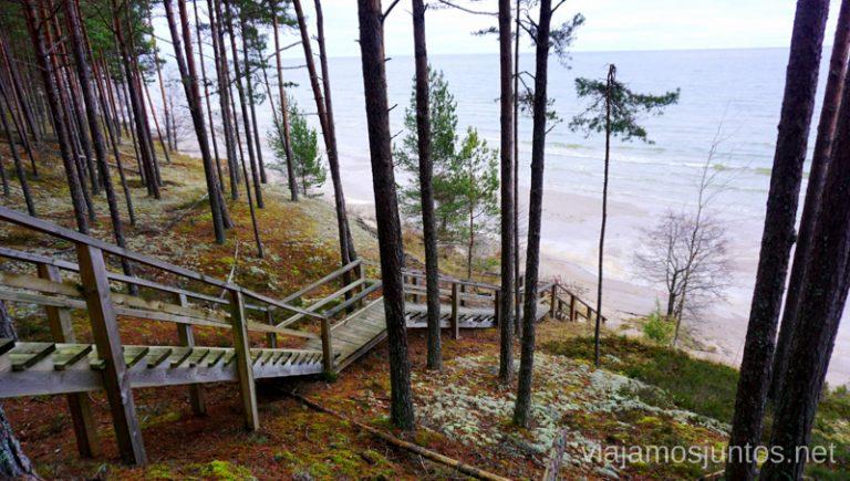 Bajada a una de las playas del Golfo de Riga. Viajar a Países Bálticos en invierno.