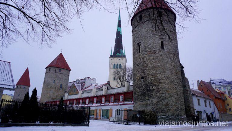 Muralla y torres de Tallin. Viajar a Países Bálticos en invierno.