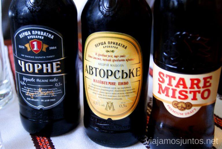 Cerveza embotellada en Ucrania. Qué comer en Ucrania. Recetas de platos tradicionales ucranianos.