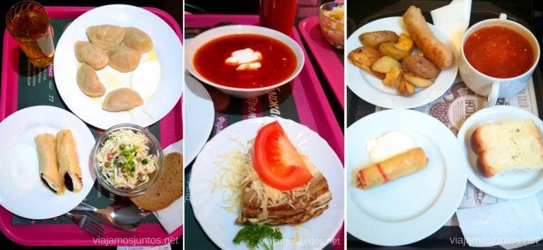 Nosotros sí que aprovechamos bastante los buffets en Ucrania. Qué comer en Ucrania. Recetas de platos tradicionales ucranianos.