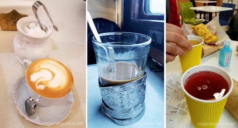 Bebidas calientes en Ucrania: café en uno de los restaurantes más caros de Leópolis, café en un tren, tés riquísimos en un centro comercial.