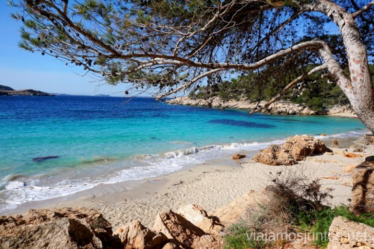 A la Cala Saladeta desde la Cala Salada por la playa. Qué ver y hacer en Ibiza, Islas Baleares.