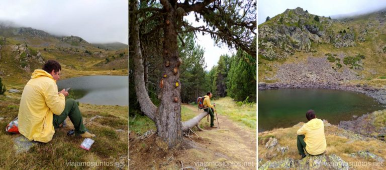 Descansando por el camino hacía el Estany de Querol. Ruta del Estany de Querol, Andorra.