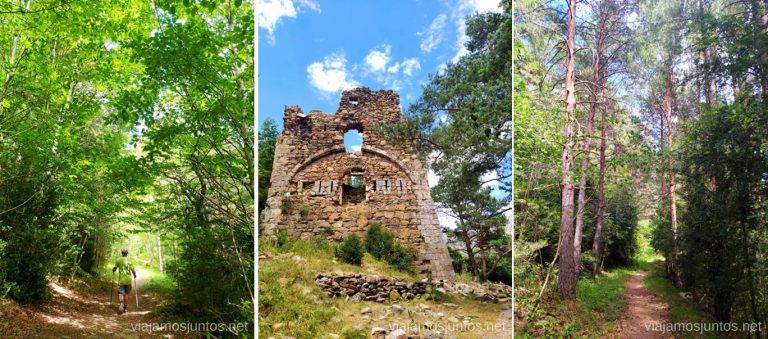 Torre vigila Castillo Viejo y caminos en la Calzada (Vía) Romana. Qué ver y hacer en el Valle de Hecho (Echo), Jacetania, Huesca, Aragón