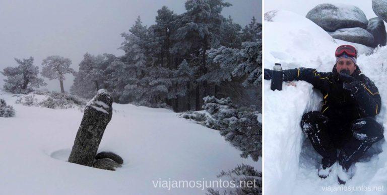 Tomando té caliente sobre la nieve. Consejos para realizar rutas de senderismo en invierno y con nieve.
