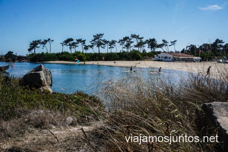 Playa fluvial en la laguna de Aveiro.
